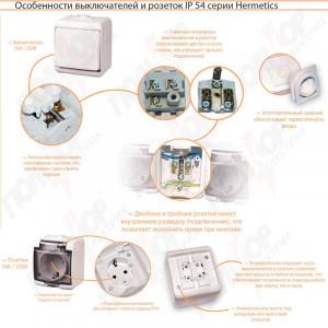 Розетка 1М Hermetics, IP44, RHE-1sd дымчатая крышка ETI
