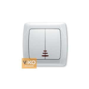 Выключатель 2-кл. с подсв. 90561050 VI-KO CARMEN белый