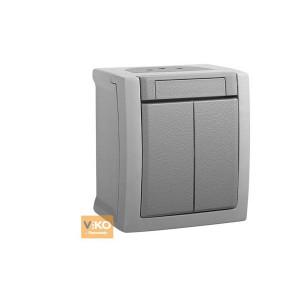 Выключатель 2-кл. наружной установки PACIFIC 90591002 VI-KO IP54 серый