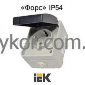 Розетка 1-местная с заземлением с крышкой РСб20-3-ФСр для наружной установки IP54 серия ФОРС ИЕК