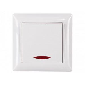 Выключатель 1-кл. с подсв. Luxel Primera 3005 белый