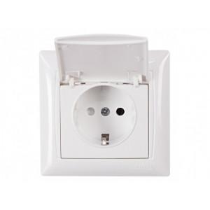 Розетка з з/к і кришкою Luxel Primera 3011 біла