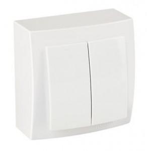 Выключатель 2кл. накладной 26111003 Nilson Themis белый (12шт/уп)