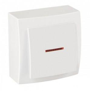 Выключатель 1кл. с подсветкой накладной 26111002 Nison Themis белый (12шт/уп)