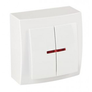 Выключатель 2кл. с подсветкой накладной 26111004 Nilson Themis белый (12шт/уп)