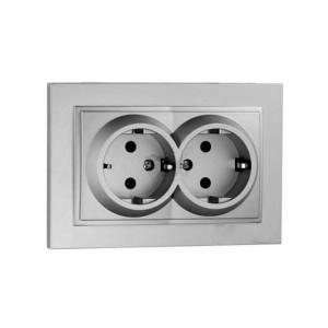 Розетка 2-а з з/к Mono Electric DESPIN срібло