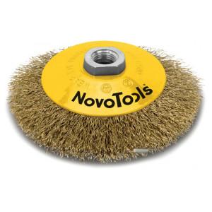 Щетка конусная NovoTools гофр.латунь, 115мм