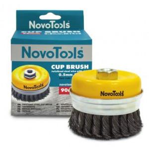 Щетка торцевая NovoTools плет.сталь с кольцом, 75мм