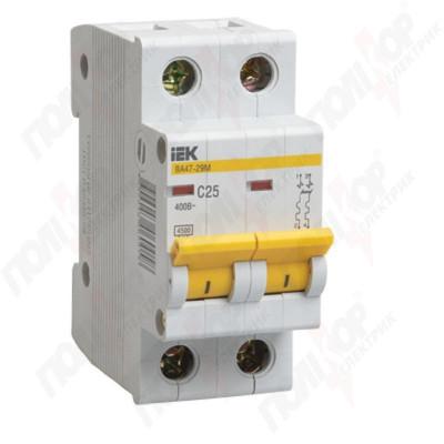 Описание, характеристики, отзывы о   Выключатель автоматический ВА47-29М 2р/С25А, купить в магазине  или  заказать  онлайн
