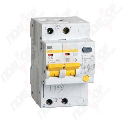 Описание, характеристики, отзывы о   Дифференциальный автомат АД-12 2р С25А/30мА смотрим АД-12М, купить в магазине  или  заказать  онлайн