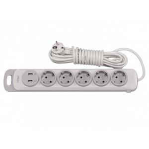 Подовжувач NOTA 5П 5 метрів з з/к+ вимикач +2 usb  Luxel 4375