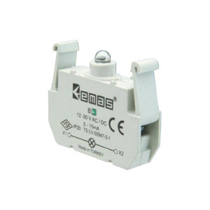 Блок-контакт подсветки В9 с зеленым светодиодом 12-30В АС/DC EMAS