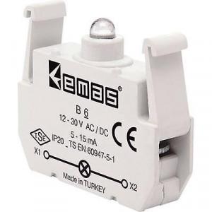 Блок-контакт подсветки В6 с красным светодиодом 12-30В АС/DC EMAS