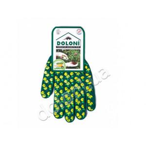 Перчатки 4116 трикотажные Весенние цветы зеленые с ПВХ Долони