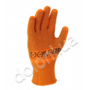 Перчатки 4111 оранжевые с 2-х сторон ПВХ АВТО 100% полиамид Долони