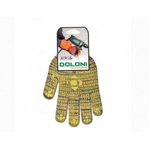 Перчатки 4242 трикотажные желтые с ПВХ Рябушка Долони