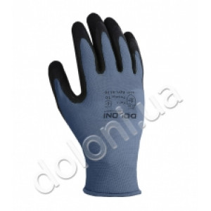 Перчатки 4178 трикотажные серые с латексным покрытием, неполный облив Долони