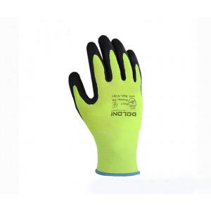 Перчатки 4181 трикотажные желто-зеленые с латексным покрытием, неполный облив Долони