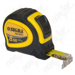 Рулетка SIGMA 8м*25мм магнитная обрезиненная с автостопом 3824081